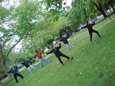 group doing single whip in the park